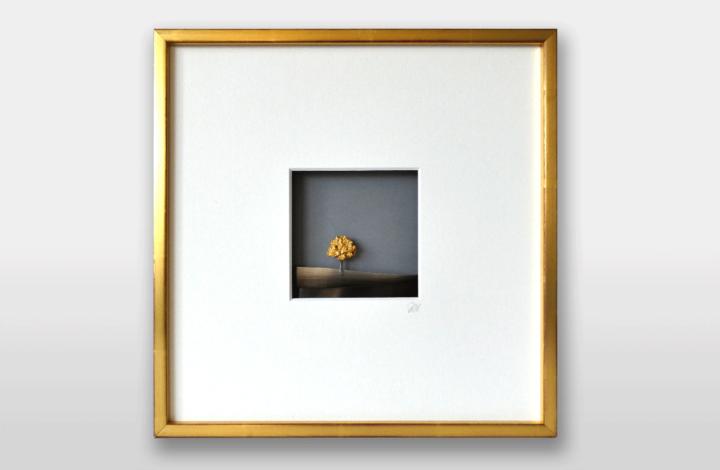 Bild in Gold und Silber geschwärzt mit Goldnugget, 30x30cm