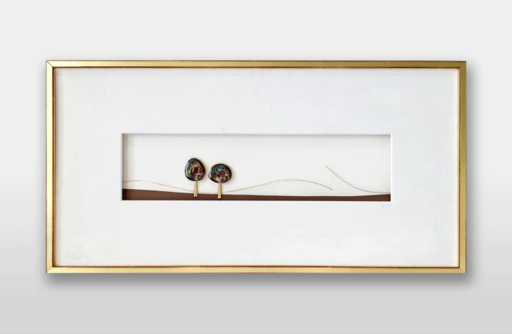 Bild in Gold mit australischen Opalen, 60x30cm