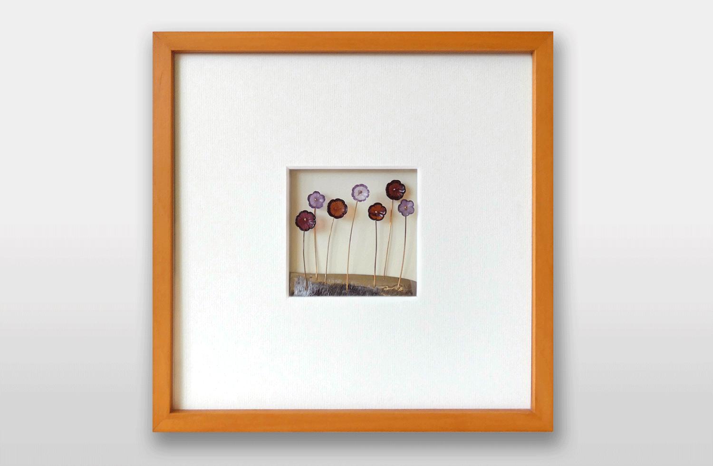 Bild «Blumenwiese» in Gold mit Granat und Amethyst, 20x20cm