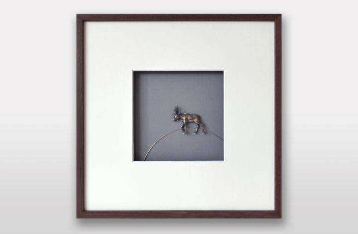 Bild «der Elch» in Silber und Gold, 30x30cm