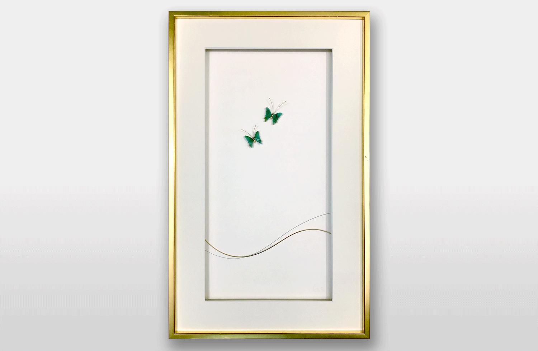 Bild «glückliche Schmetterlinge» in Gold mit Paraiba-Turmalinen und Diamanten, 50x30cm