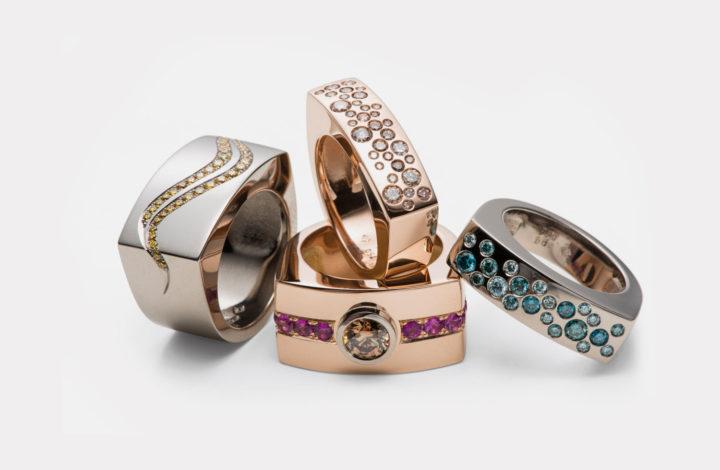 Ringe in Gold mit Diamanten und Rubinen