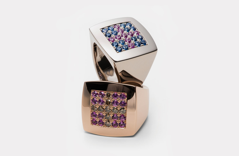 Ringe in Gold mit Diamanten und Safiren