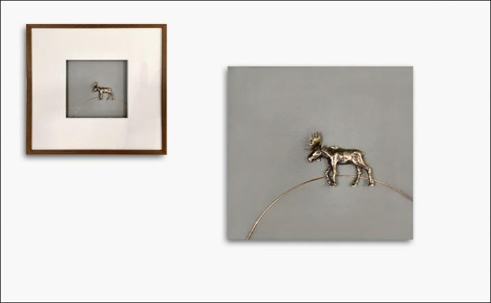 Bild «Elch» in Silber und Rotgold, Rahmen Holz 31x31cm
