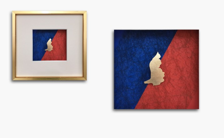 Bild «Liechtenstein» in Gelbgold, Rahmen blattvergoldet 31x31cm
