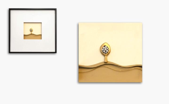 Bild in Gelbgold und Silber geschwärzt mit Akoya-Perlen, Holzrahmen 60x60cm