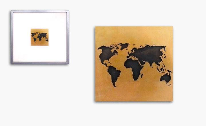Bild in Gelbgold, Rahmen blattvergoldet 31x31cm