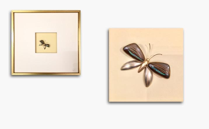 Bild in Gelbgold und Weissgold mit australischen Opalen, Rahmen blattvergoldet 31x31cm