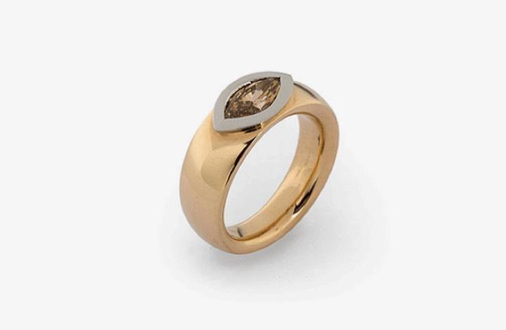 Ring in Gold und Platin mit Diamant